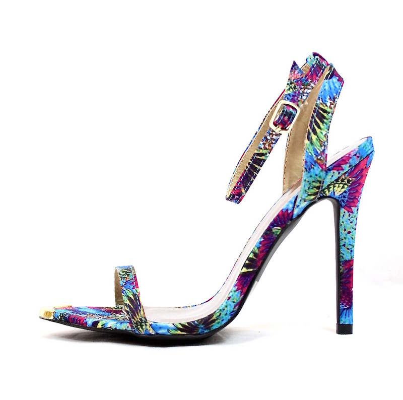 Qupid Frasier-01 Floral Print Gold Tip Ankle Strap Stiletto Open Toe Sandals-0