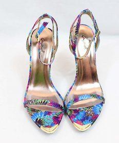 Qupid Frasier-01 Floral Print Gold Tip Ankle Strap Stiletto Open Toe Sandals-3475