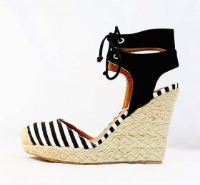 Qupid Val-96A Stripe Almond Toe Straw Ankle Strap Espadrille Wedge-0
