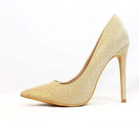 Shoe Republic Shiner Gold Pointy Toe Dress Stiletto Pumps-0