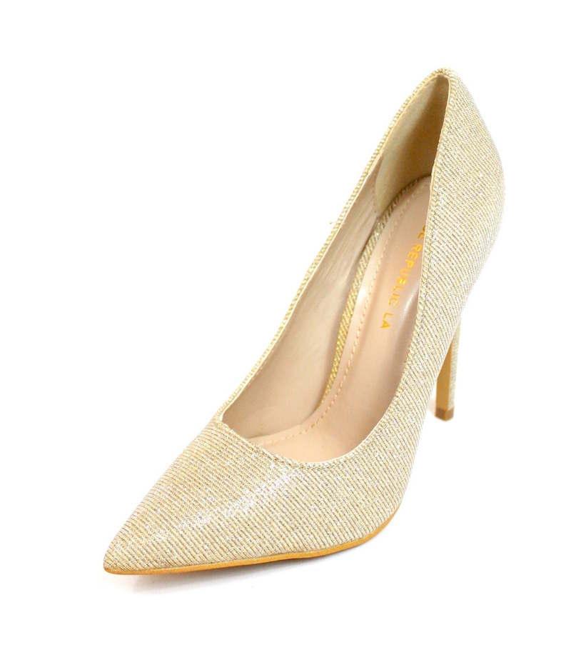 Shoe Republic Shiner Gold Pointy Toe Dress Stiletto Pumps-3407