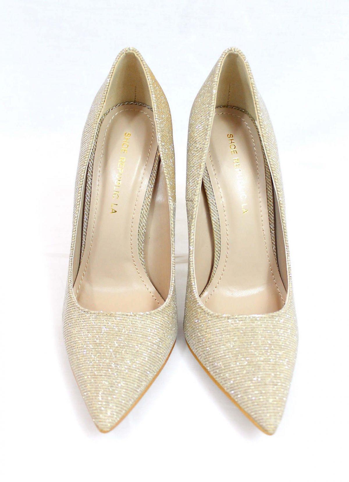 Shoe Republic Shiner Gold Pointy Toe Dress Stiletto Pumps-3406