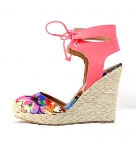 Qupid Val-96A Floral Almond Toe Straw Ankle Strap Espadrille Wedge-0