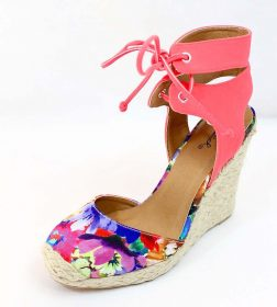 Qupid Val-96A Floral Almond Toe Straw Ankle Strap Espadrille Wedge-3461