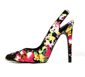 Qupid Virtue-59 Black Multi colored floral Pointy Toe Stiletto Pumps-0