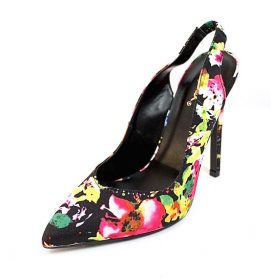 Qupid Virtue-59 Black Multi colored floral Pointy Toe Stiletto Pumps-3465