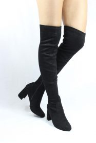 Shoe Republic Andra Black Round Toe Thigh High Chunky Heel Boots-0
