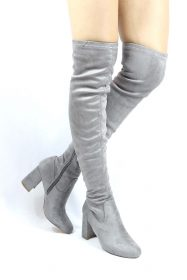 Shoe Republic Andra Grey Round Toe Thigh High Chunky Heel Boots-0