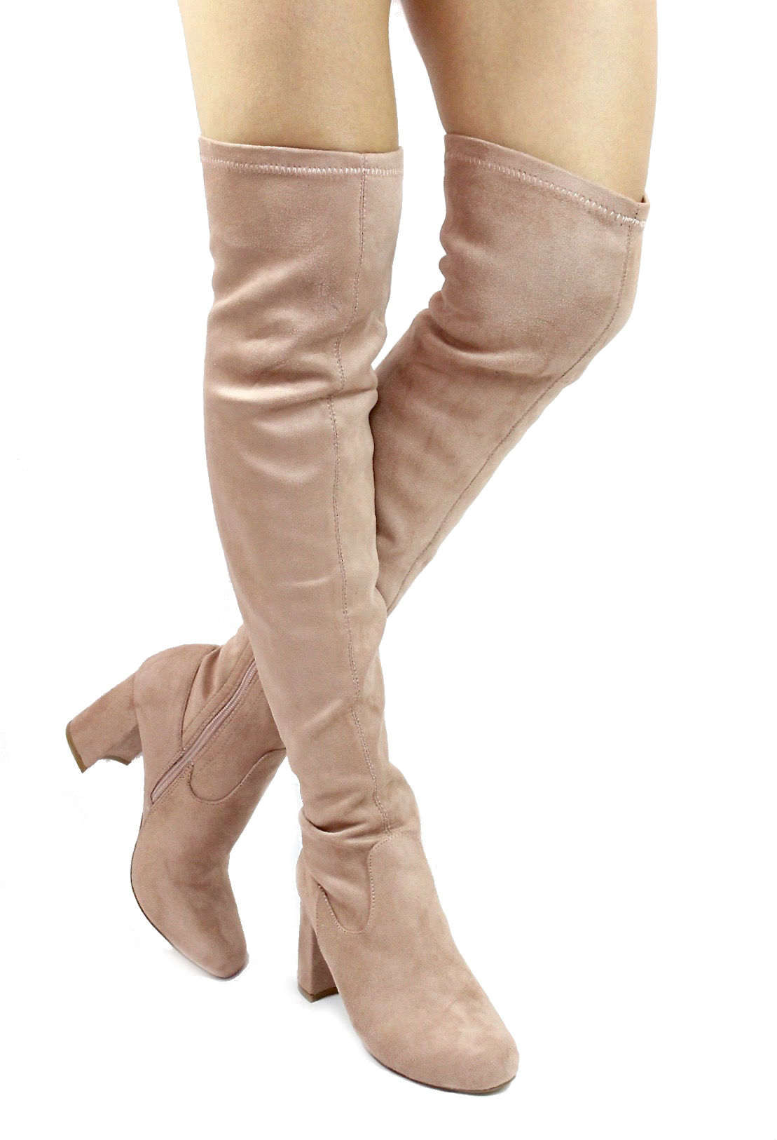 d5207725c70 Shoe Republic Andra Mauve Round Toe Thigh High Chunky Heel Boots-0