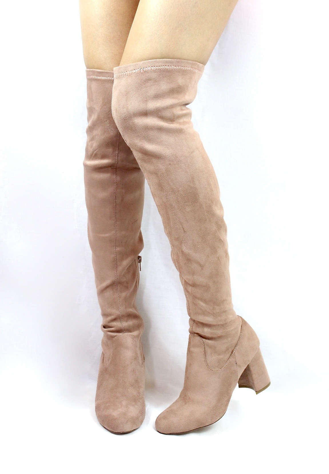 414b492e17c Shoe Republic Andra Mauve Round Toe Thigh High Chunky Heel Boots-3846