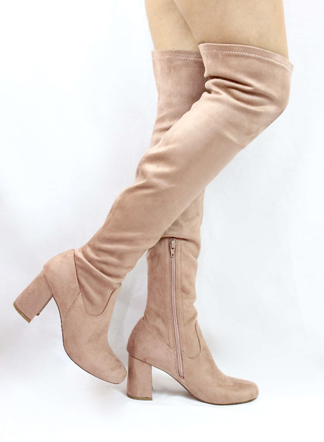 1407967f47e Shoe Republic Andra Mauve Round Toe Thigh High Chunky Heel Boots-3847