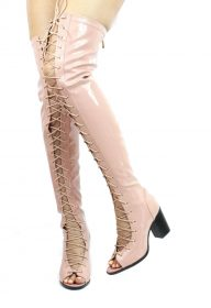Cape Robin April-1 Pink Lace Up Patent Thigh High Boots-0