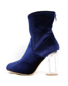 Ashley-1 Blue Velvet Block Clear Lucite Bootie-0