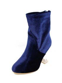 Ashley-1 Blue Velvet Block Clear Lucite Bootie-3789
