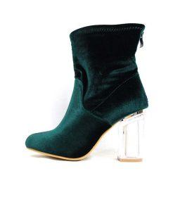 Ashley-1 Emerald Velvet Block Lucite Bootie-0