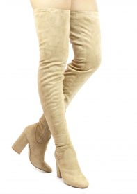 Cape Robbin Betisa-4 Nude Extra Long Thigh High Chunky Heel Boots-0