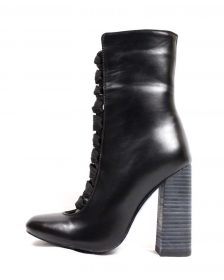 Camy-1 Faux Leather Black Chunky Heel Ankel laced Round Toe Bootie-0