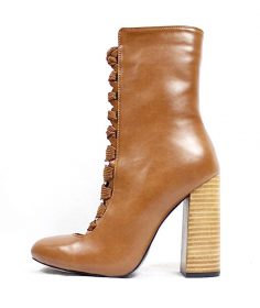 Camy-1 Faux Leather Camel Chunky Heel Lace Up Round Toe Bootie-0