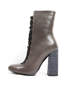 Camy-1 Faux Leather Taupe Lace Up Round Toe Bootie-0