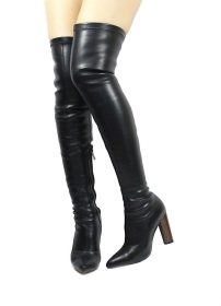 Camy-6 Black PU Thigh High Pointy Toe Chunky Heel Snug Fit Boots-0