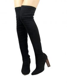 Camy-6 Black SuedeThigh High Pointy Toe Chunky Heel Snug Fit Boots-0