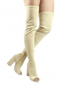 Camy-9 Beige Lycra Chunky Heel Thigh High Open Toe Boots-0