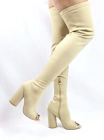 Camy-9 Beige Lycra Chunky Heel Thigh High Open Toe Boots-4181