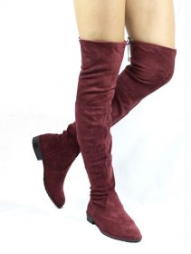 Cecy-5 Burgundy Thigh High Almond Toe Snug Fit Zipper Flat Riding Boot-0