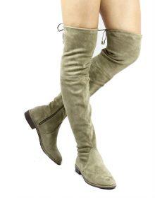 Cecy-5 Khaki Thigh High Almond Toe Snug Fit Flat Riding Boot-0