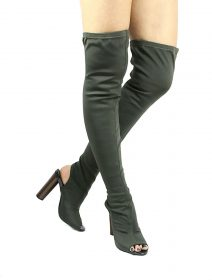 Cape Robbin Connie-1 Olive Lycra Cut Out Open Toe High Heels Boot-0