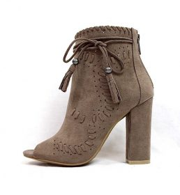 Bamboo Encounter-12 Taupe Tassel Bootie-0