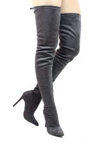 Liliana Gisele-50 Grey Pointy Toe Extra Long Thigh High Boots -0