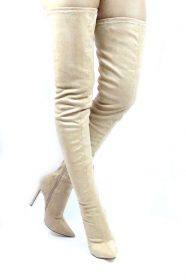 Liliana Gisele-50 Nude Pointy Toe Extra Long Thigh High Boots -0