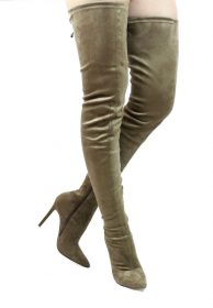 Liliana Gisele-50 Olive Pointy Toe Extra Long Thigh High Boots -0