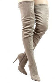 Liliana Gisele-50 Taupe Pointy Toe Extra Long Thigh High Boots -0