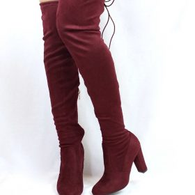 83ae0e7d00 Bamboo Hilltop-20 Burgundy Over the Knee Chunky Heel Boots-3930. Click to  enlargeClick to enlarge