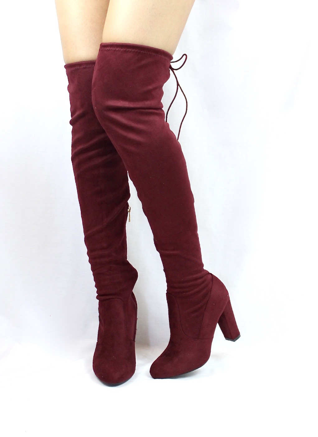 Bamboo Hilltop-20 Burgundy Over the Knee Chunky Heel Boots-3929