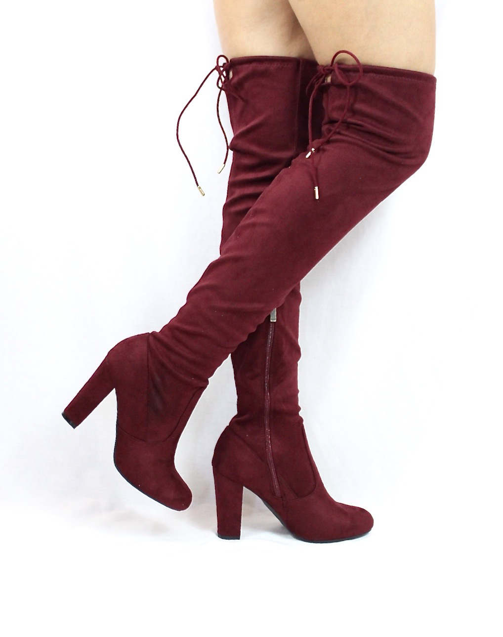 cee63bd623 Bamboo Hilltop-20 Burgundy Over the Knee Chunky Heel Boots-3927