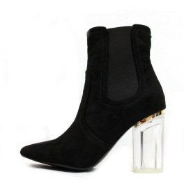 Round Toe Black Faux Suede Clear Lucite Heel Bootie-0
