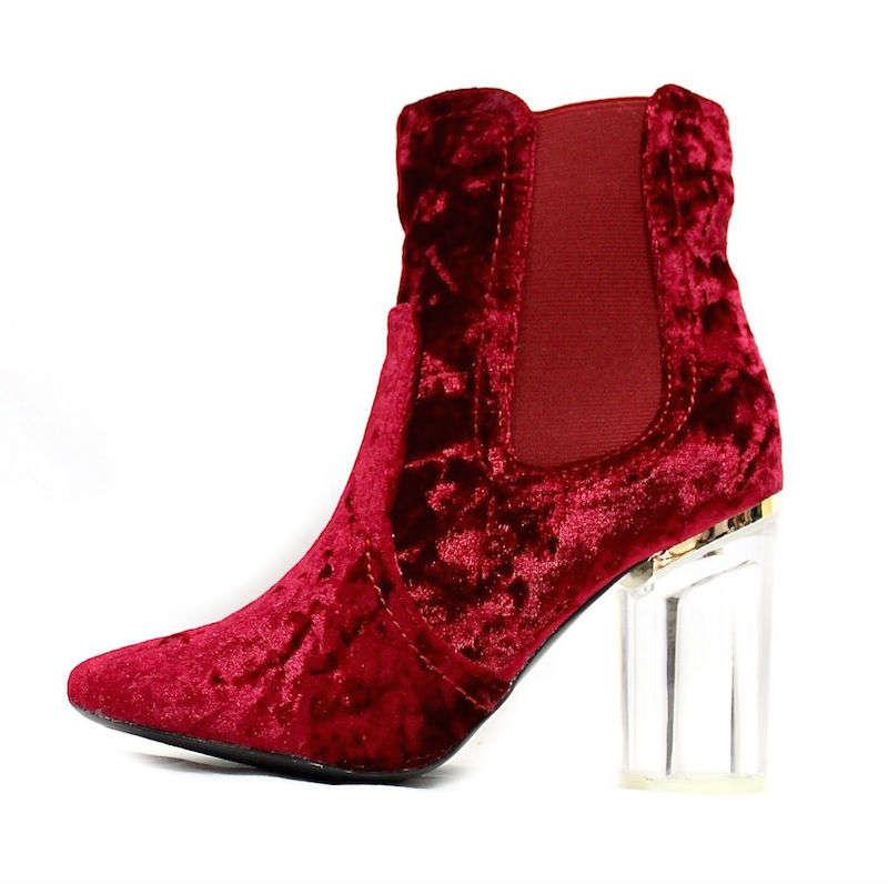 Round Toe Wine Velvet Clear Perspex Lucite Heel Bootie-0