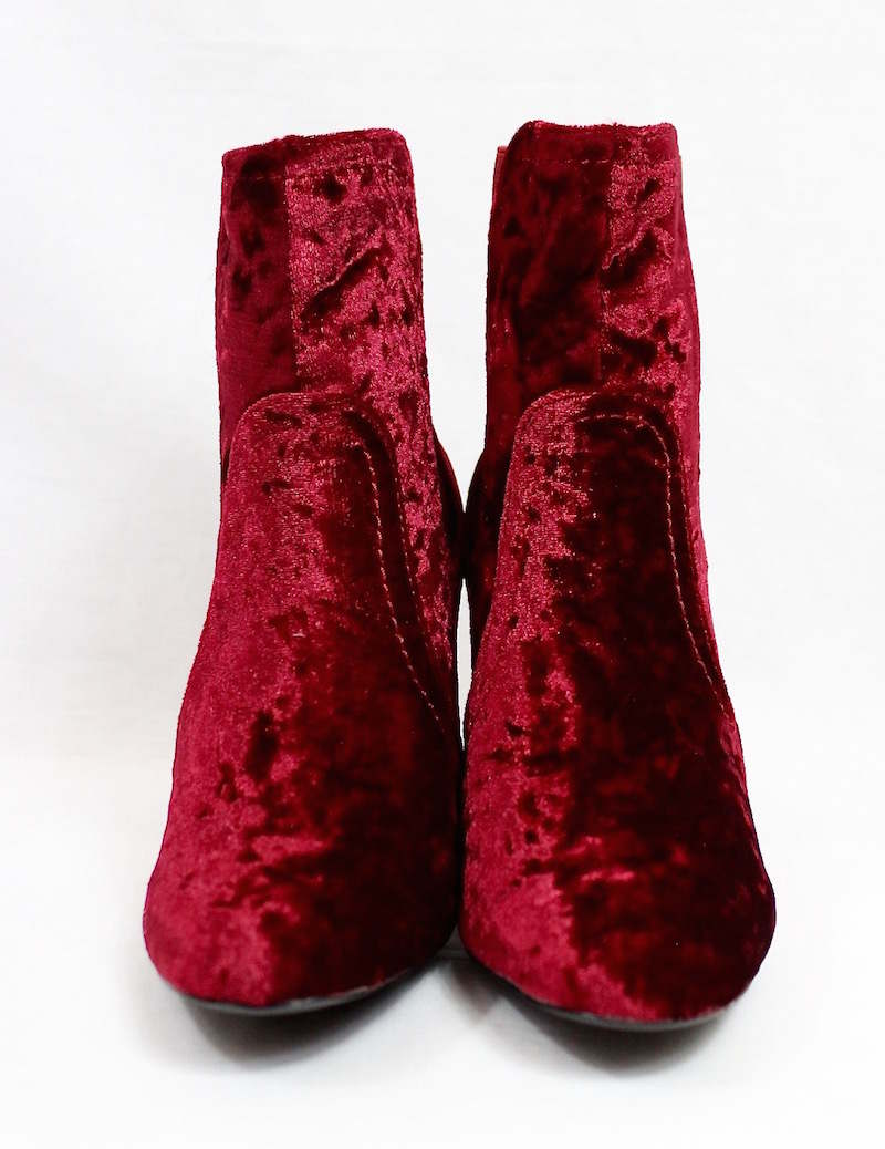 Round Toe Wine Velvet Clear Perspex Lucite Heel Bootie-4162