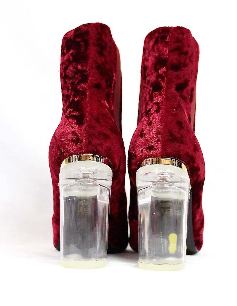 Round Toe Wine Velvet Clear Perspex Lucite Heel Bootie-4164