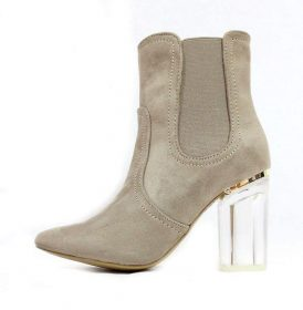 Round Toe Taupe Faux Suede Clear Perspex Heel Bootie-0