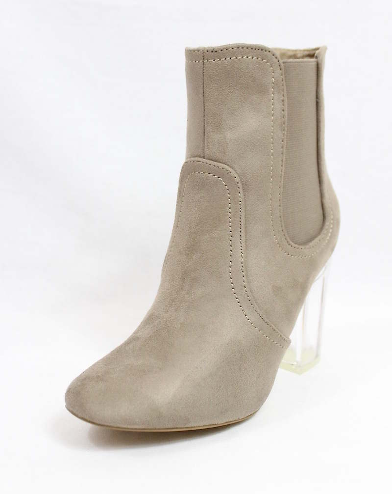 Round Toe Taupe Faux Suede Clear Perspex Heel Bootie-4176