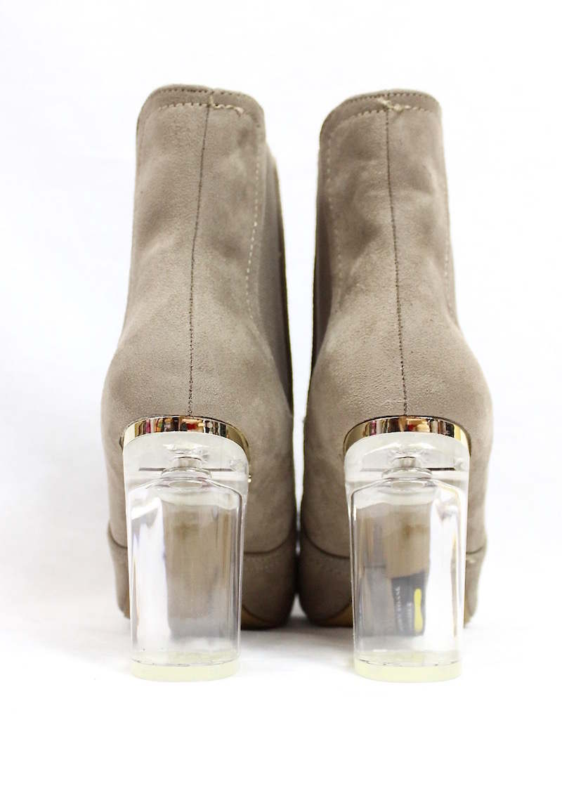Round Toe Taupe Faux Suede Clear Perspex Heel Bootie-4173