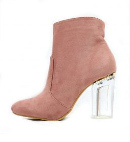 Round Toe Pink Faux Suede Round Toe Lucite Heel Bootie-0