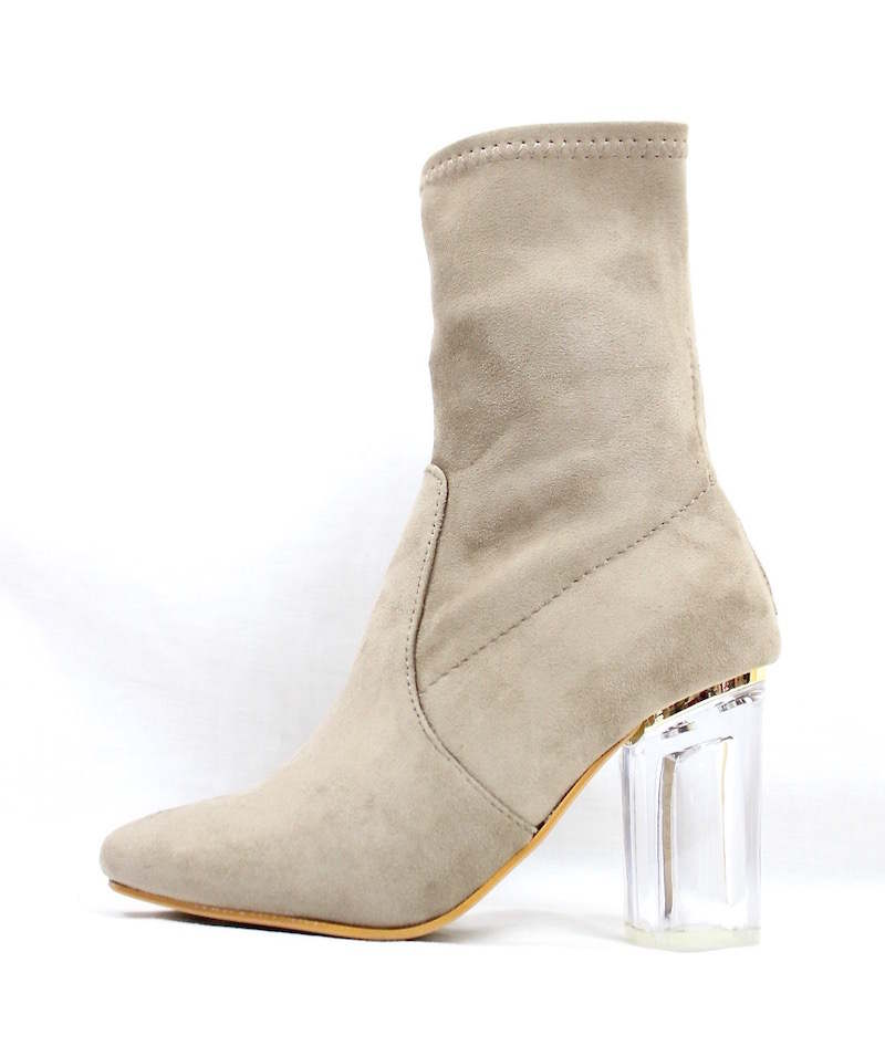 Round Toe Taupe Faux Suede Clear Perspex Lucite Heel Bootie-0