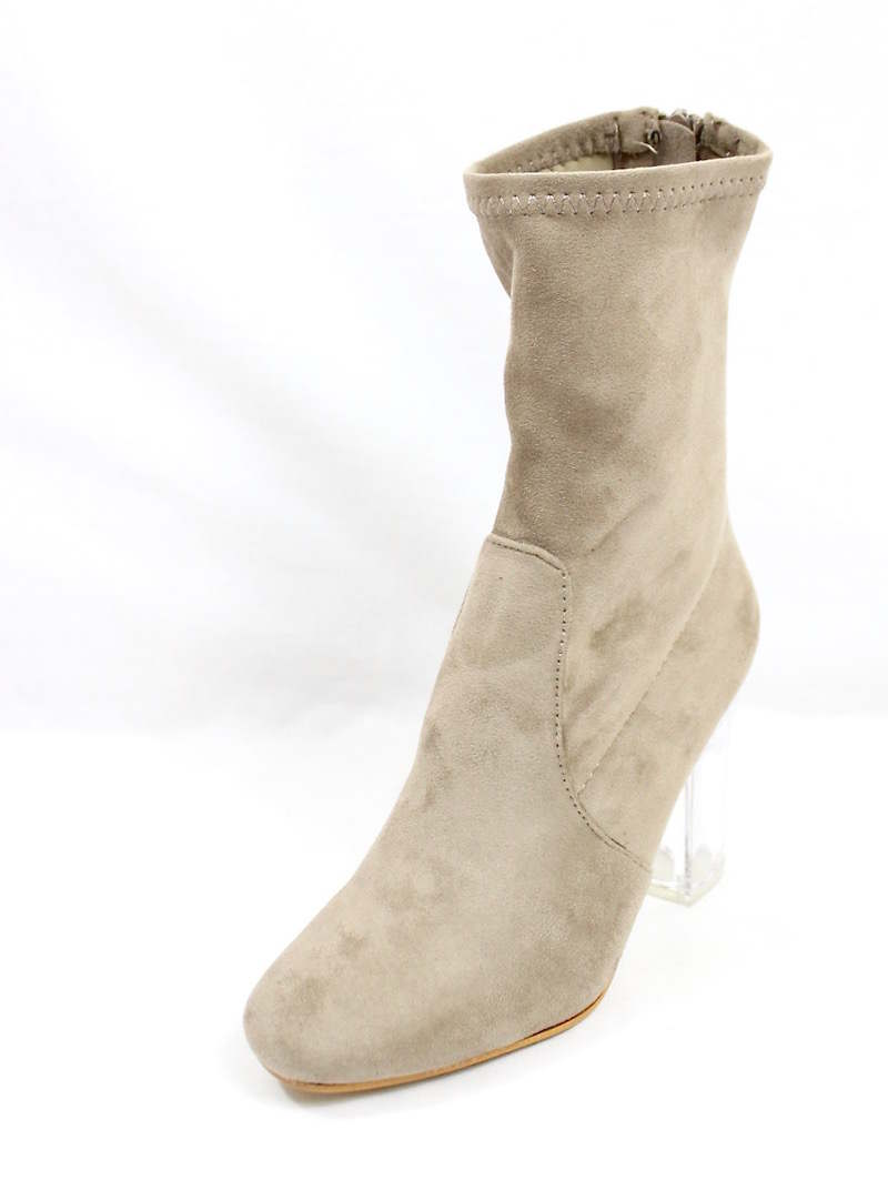 Round Toe Taupe Faux Suede Clear Perspex Lucite Heel Bootie-4167