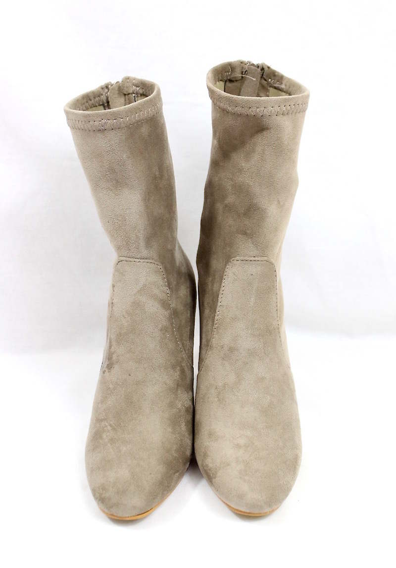 Round Toe Taupe Faux Suede Clear Perspex Lucite Heel Bootie-4166