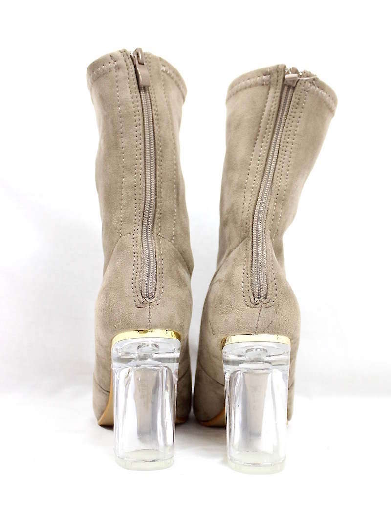 Round Toe Taupe Faux Suede Clear Perspex Lucite Heel Bootie-4165